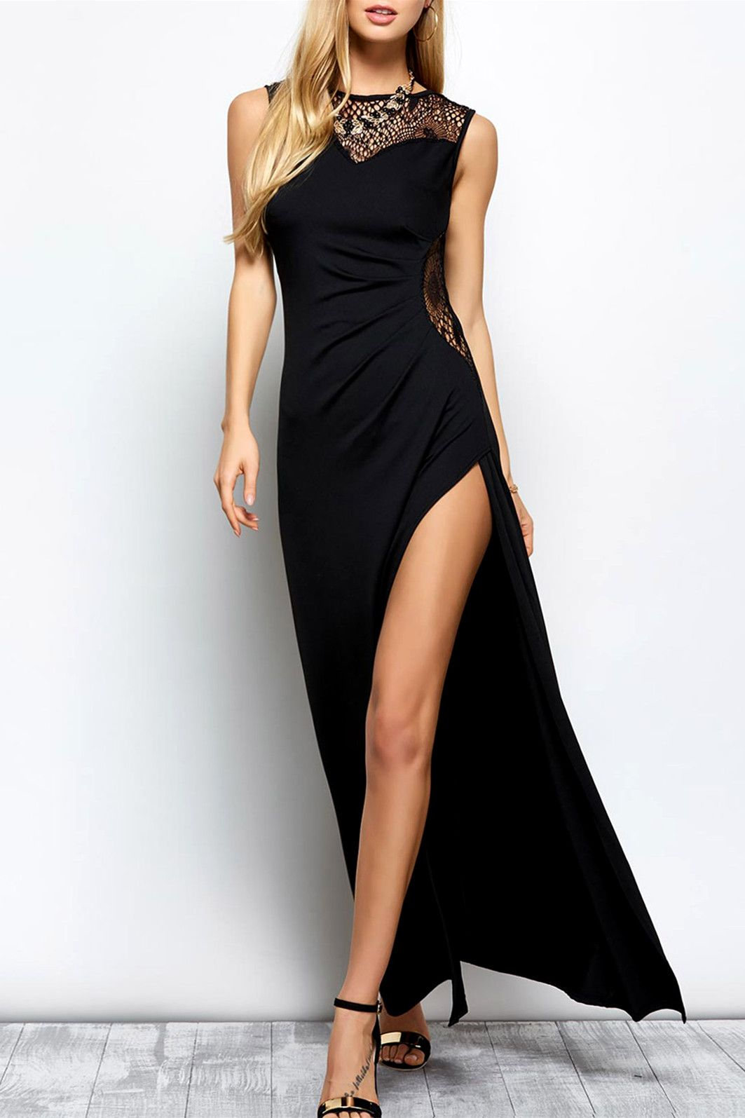sleeveless hollow out slit maxi dress my style the black