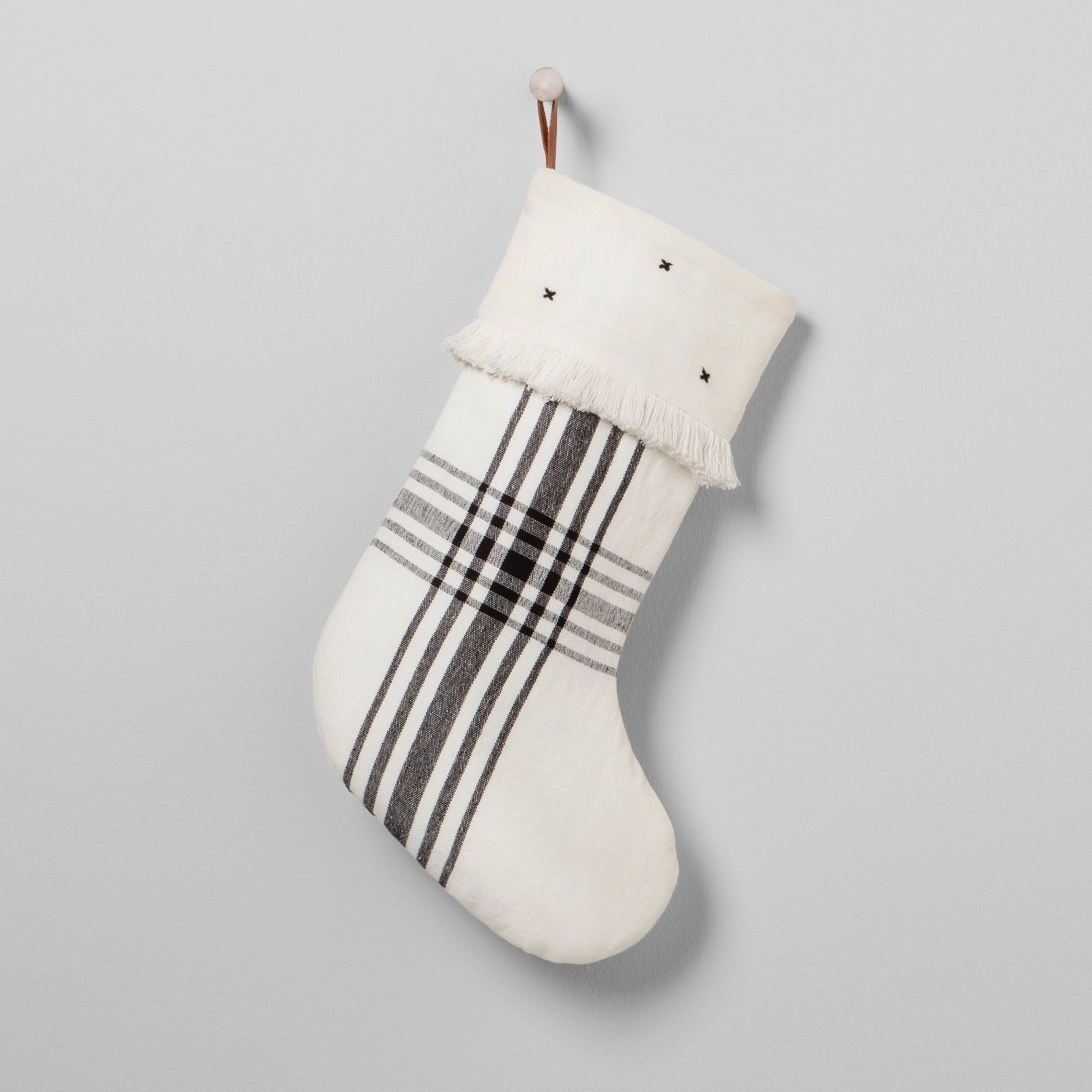 Plaid Holiday Stocking White/Black Hearth & Hand with