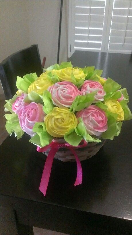 Cupcake bouquet, bright pink & yellow | My cupcakes! | Pinterest ...