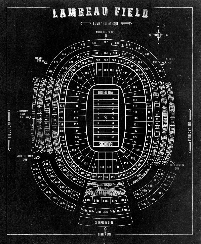 NFL Lambeau Field Football Stadium Print Blueprint on by
