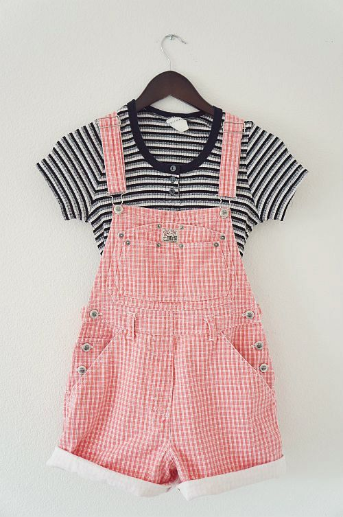 b5d59743d6314 90s Grunge Red Gingham Plaid Overall Shorts-Size Small | Fashion and ...