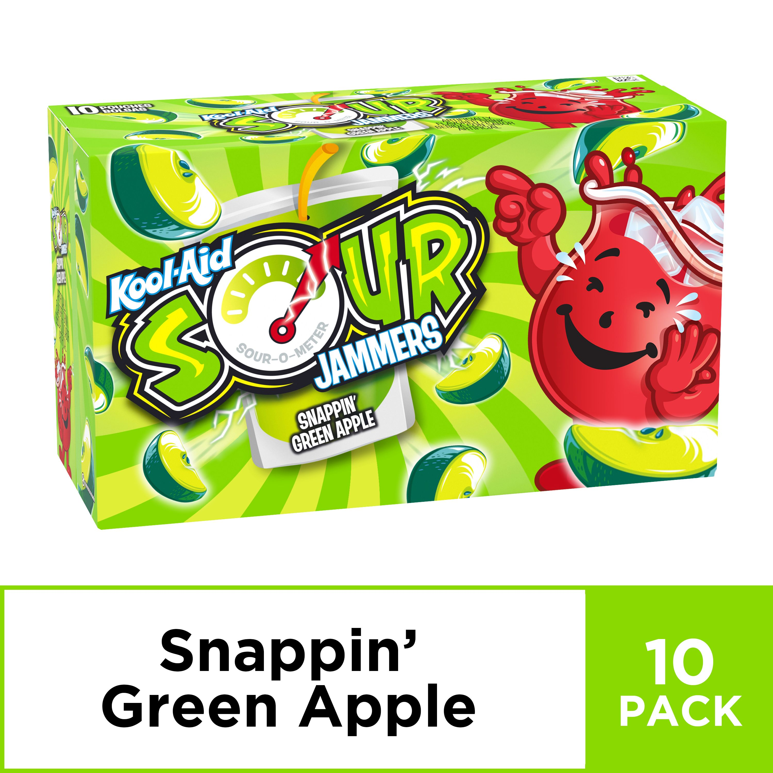 Kool Aid Sour Jammers Snappin Green Apple Artificially Flavored Soft Drink 10 Ct Box 6 Fl Oz Pouches Walmart Com Flavored Drinks Kool Aid Apple Drinks
