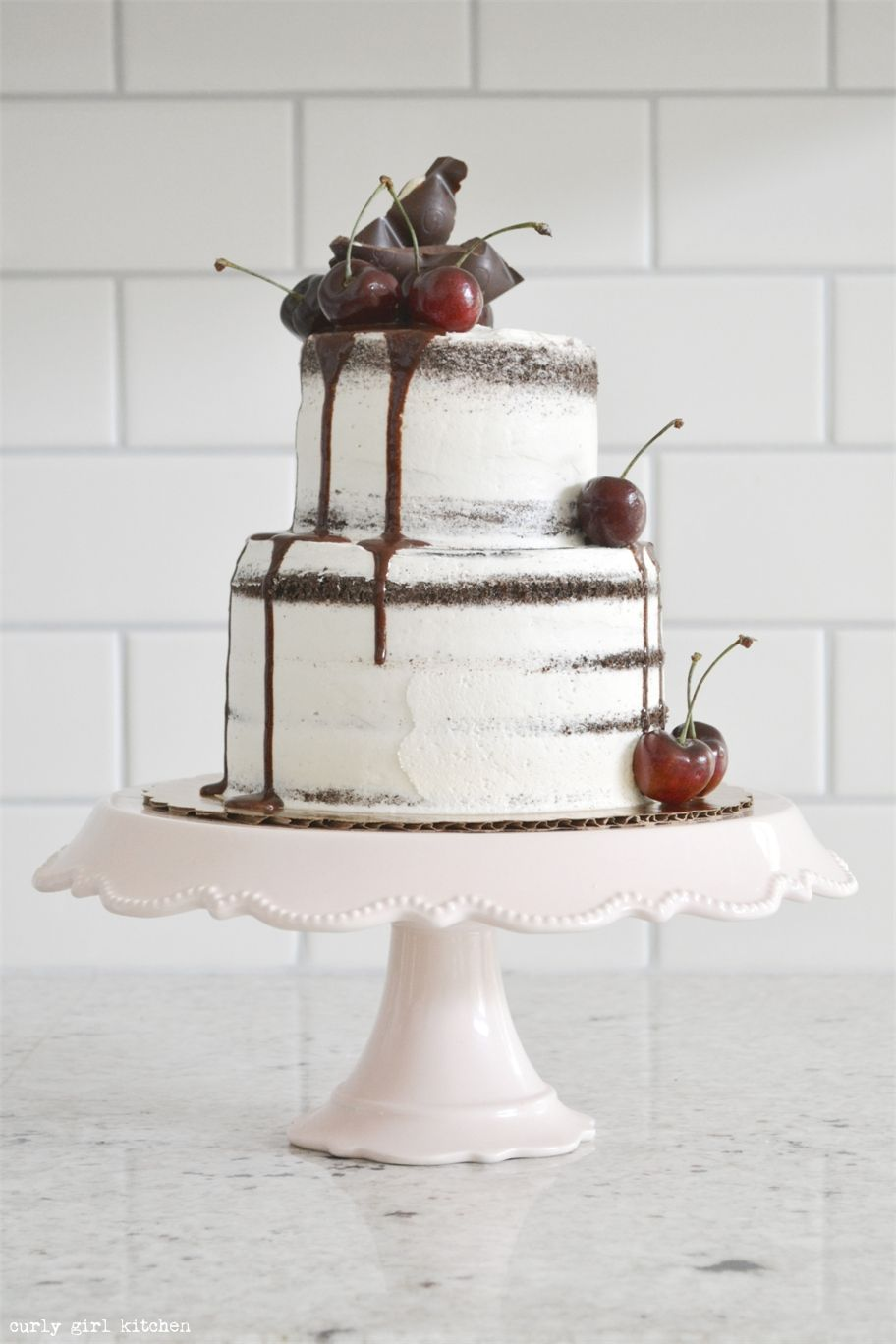 naked chocolate cake with contreau and cherries we this