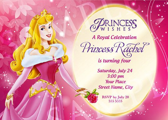 Aurora Princess Birthday Invitation Template By CharisDesignStudio