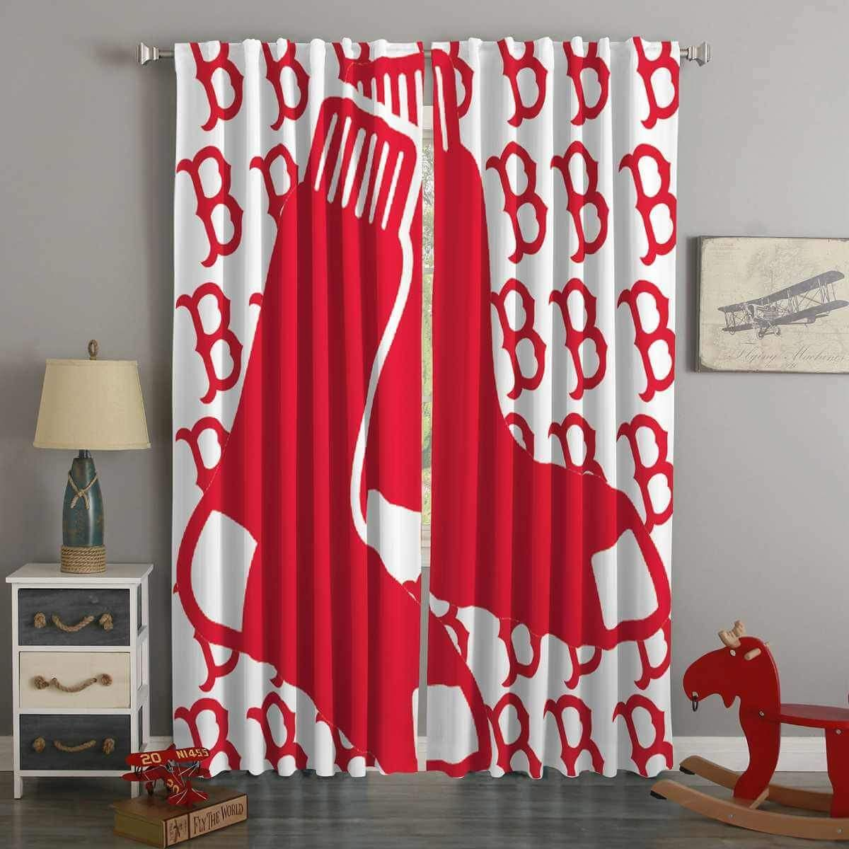 3d Printed Boston Red Sox Style Custom Living Room Curtains