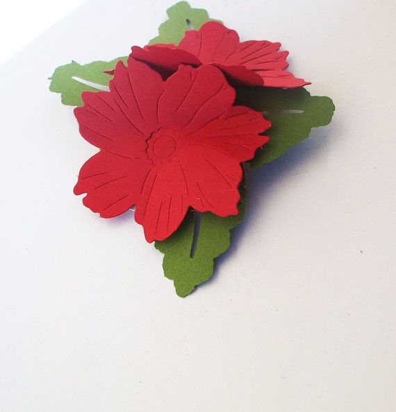 5 Christmas Poinsettia Bouquet Gift Tags3d by YesUMaystationery