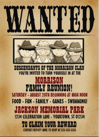 Wanted Family Reunion Invitations Easy To Customize