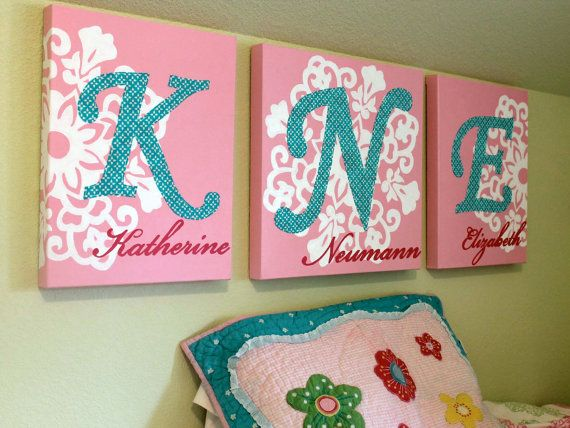 Canvas childrens initials wall art 46 x 18 total size personalized original painting with