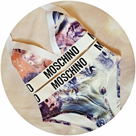 Reworked marble print bikini set by croptopchannel on Etsy