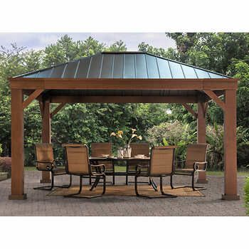 2000 At Costco Sunjoy Adland 12 Ft X 14 Ft Hardtop Gazebo Wood Look Finish On Aluminum Outdoor Pergola Patio Gazebo Backyard Gazebo