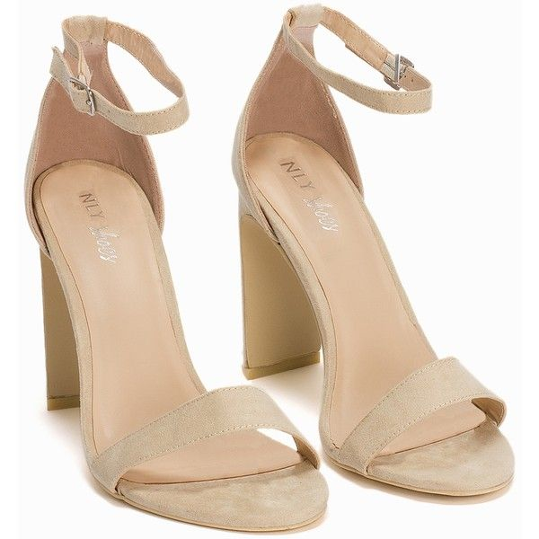 590f9fdc98 Nly Shoes Thin Block Heel Sandal (£48) ❤ liked on Polyvore featuring shoes,  sandals, beige, party shoes, womens-fashion, high heel sandals, wide shoes,  ...