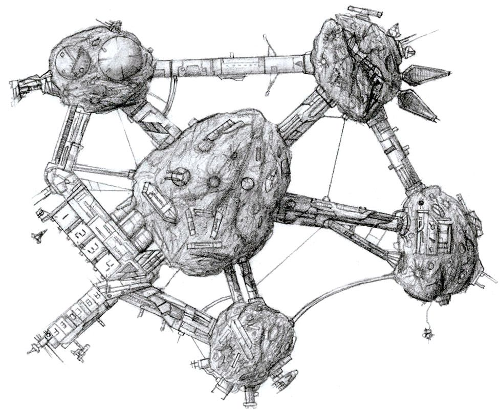 Asteroid Base Sketch Space Stations Pinterest Base Spaceship