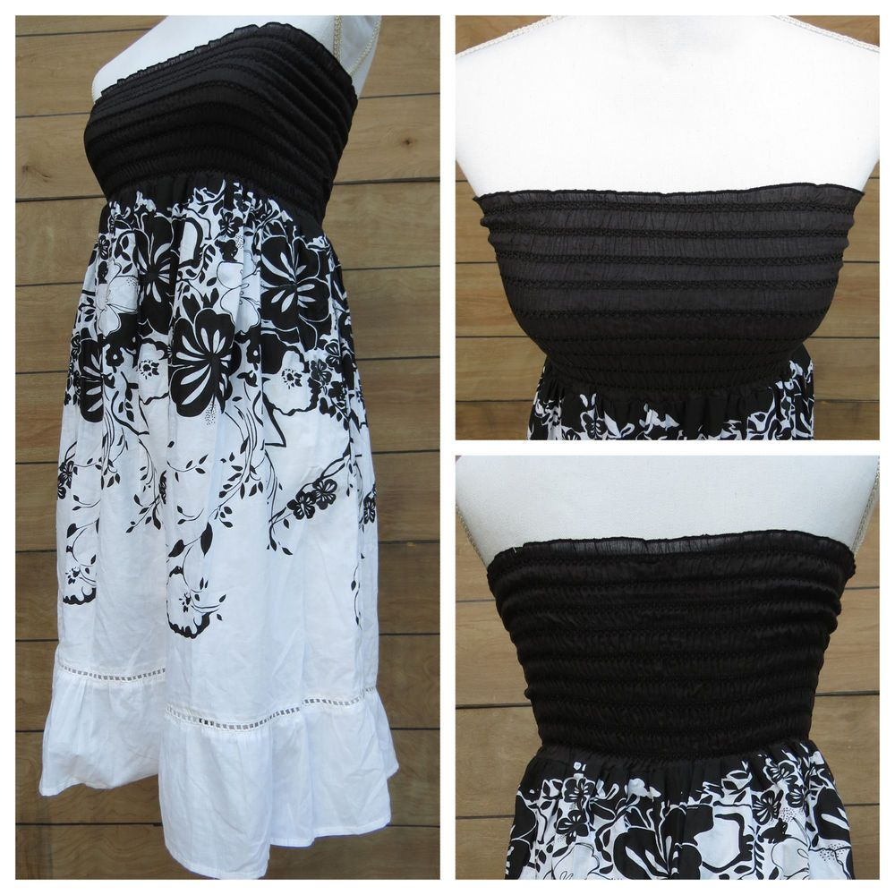 Raviya swimsuit cover up dress hawaiian floral black white strapless