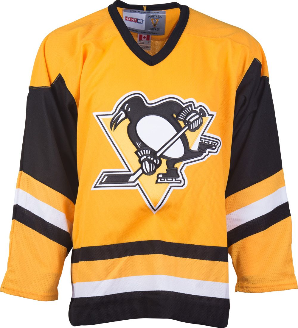 pittsburgh penguins ccm vintage 1985 sunflower replica nhl hockey jersey