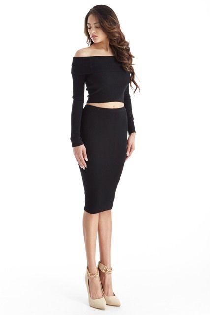 - Skirt  Set - Off Shoulder - Long Sleeve  - Crop Top - Midi Skirt  - Fits True To Size