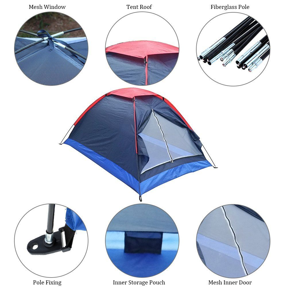 Camping Tent 2 Persons Camping Tent Single Layer Beach Tent Outdoor Travel Windproof Waterproof Awning Tent Summer T Beach Tent Tent Camping Waterproof Awnings