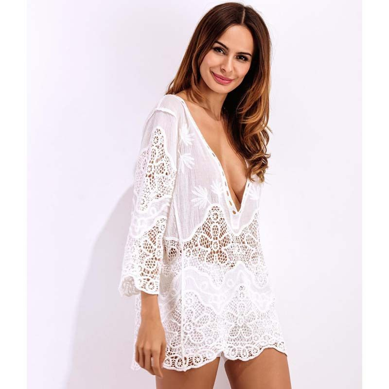 d9879df2b47 White Sexy Beach Swimsuit Cover Up Women Crochet Beach Dress Tunic ...