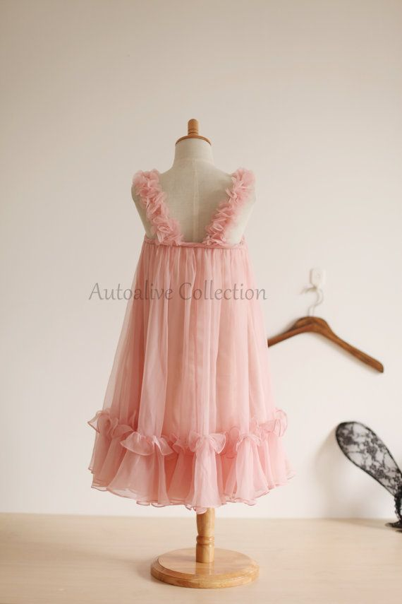 Blush pink chiffon infant dress if i had a girl pinterest blush pink chiffon flower girl dress infant toddler by autoalive mightylinksfo Images