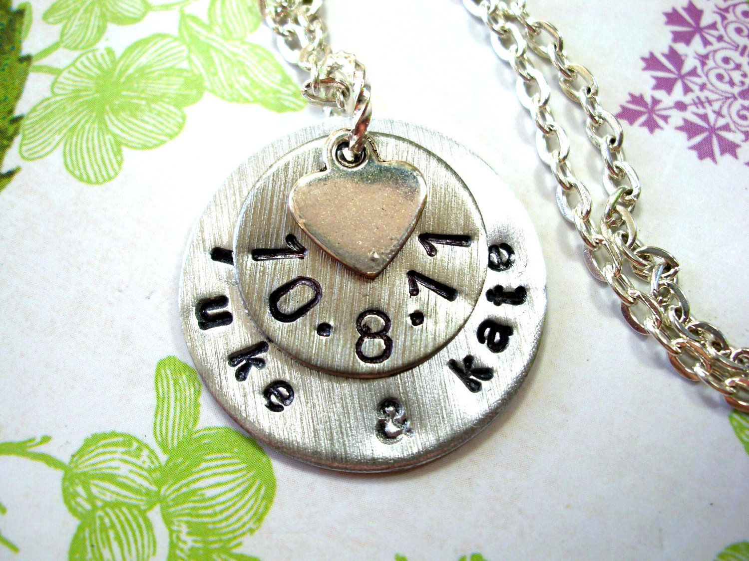 Wedding Necklace, Wedding Date Necklace. $25.00, via Etsy.    Put around your flowers??