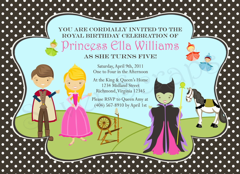 Sleeping Beauty Princess Birthday Party Invitation - Disney - Aurora ...