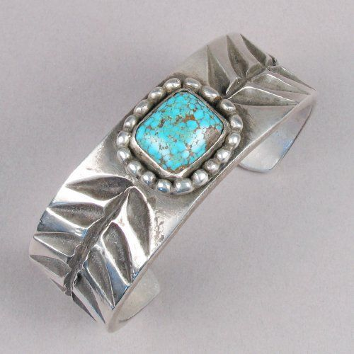 Greg Lewis heavy stamped cuff with #8 turquoise