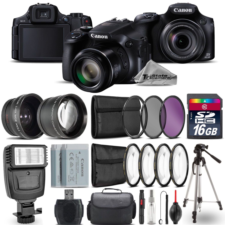 Canon Powershot Sx60 Hs Camera Wide Angle Telephoto Lens Flash 16gb Kit Powershot Nikon Coolpix P900 Canon Powershot