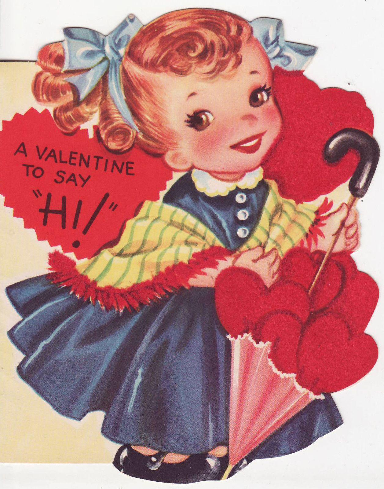 Vintage Flocked Valentine Little Girl W Umbrella A Meri Card 1950s Vintage Valentine Cards Vintage Greeting Cards Vintage Valentines