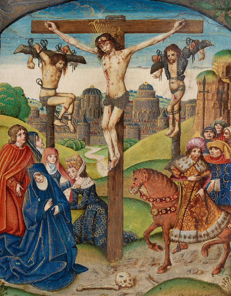 the crucifixion christ on the cross between two thieves