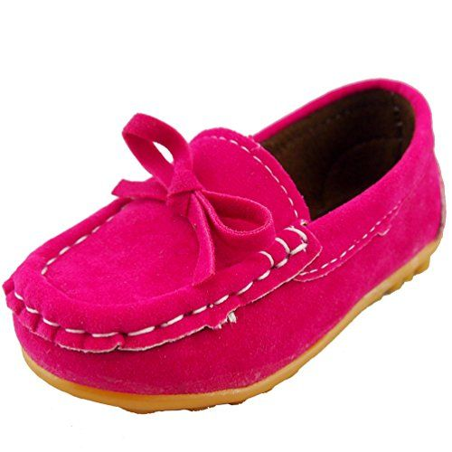 DADAWEN Girls Boys Suede Slip-on Loafers Oxford Shoes