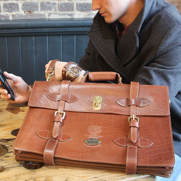 No. 1943 Navigator Briefcase in American Buffalo Leather. Vintage Style but accommodates are your modern devices.