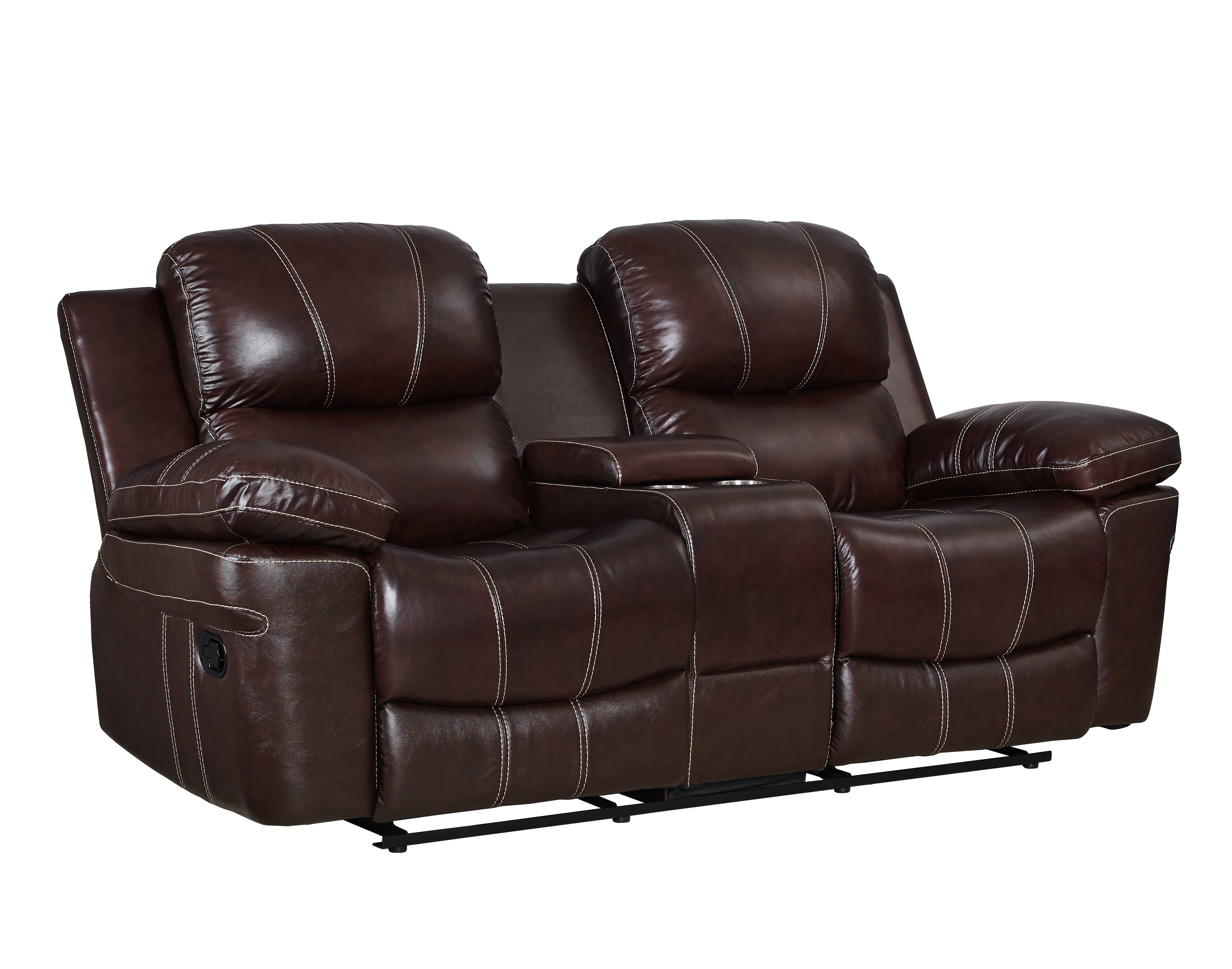 Legato Dark Brown Grain Leather Match Power Recliner Console Loveseat Love Seat New Classic Furniture Recliner