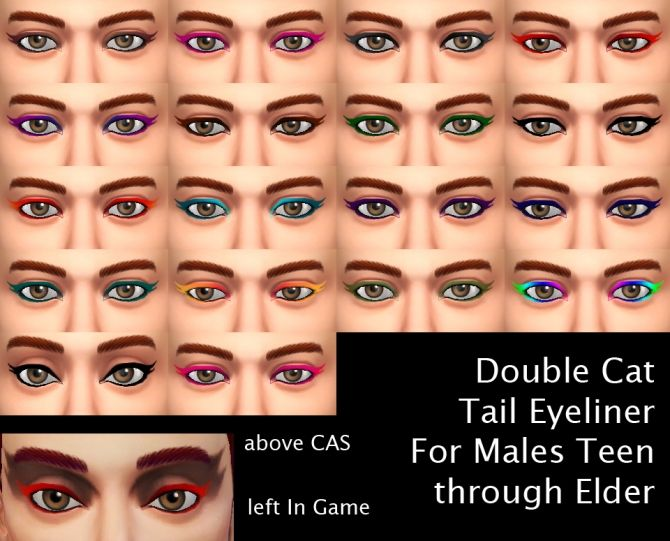 Double Cat Tail Eyeliner for Males by Simmiller at Mod The Sims via Sims 4 Updates