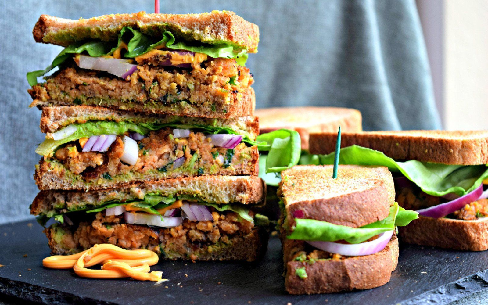 Indian-Spiced Red Lentil Patty Sandwich [Vegan]