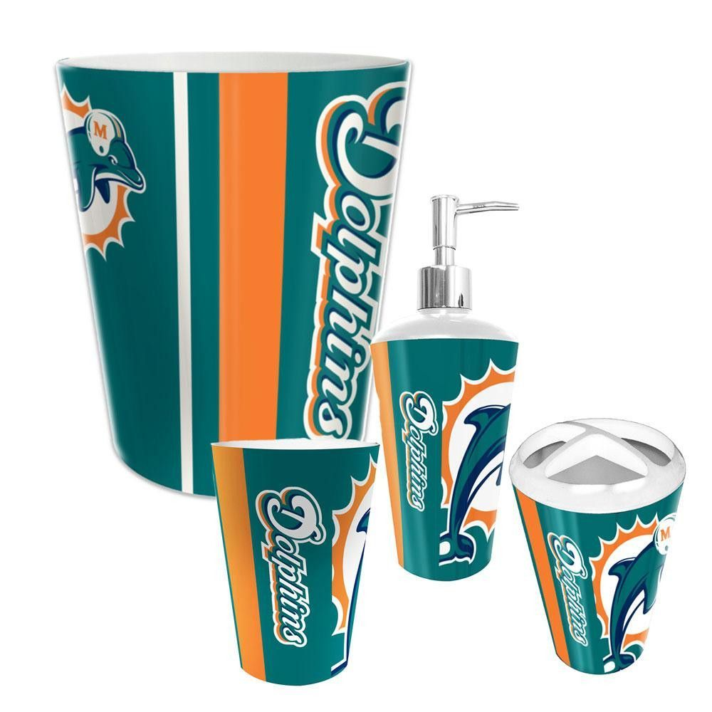 miami dolphins nfl complete bathroom accessories 4pc set - Bathroom Accessories Miami