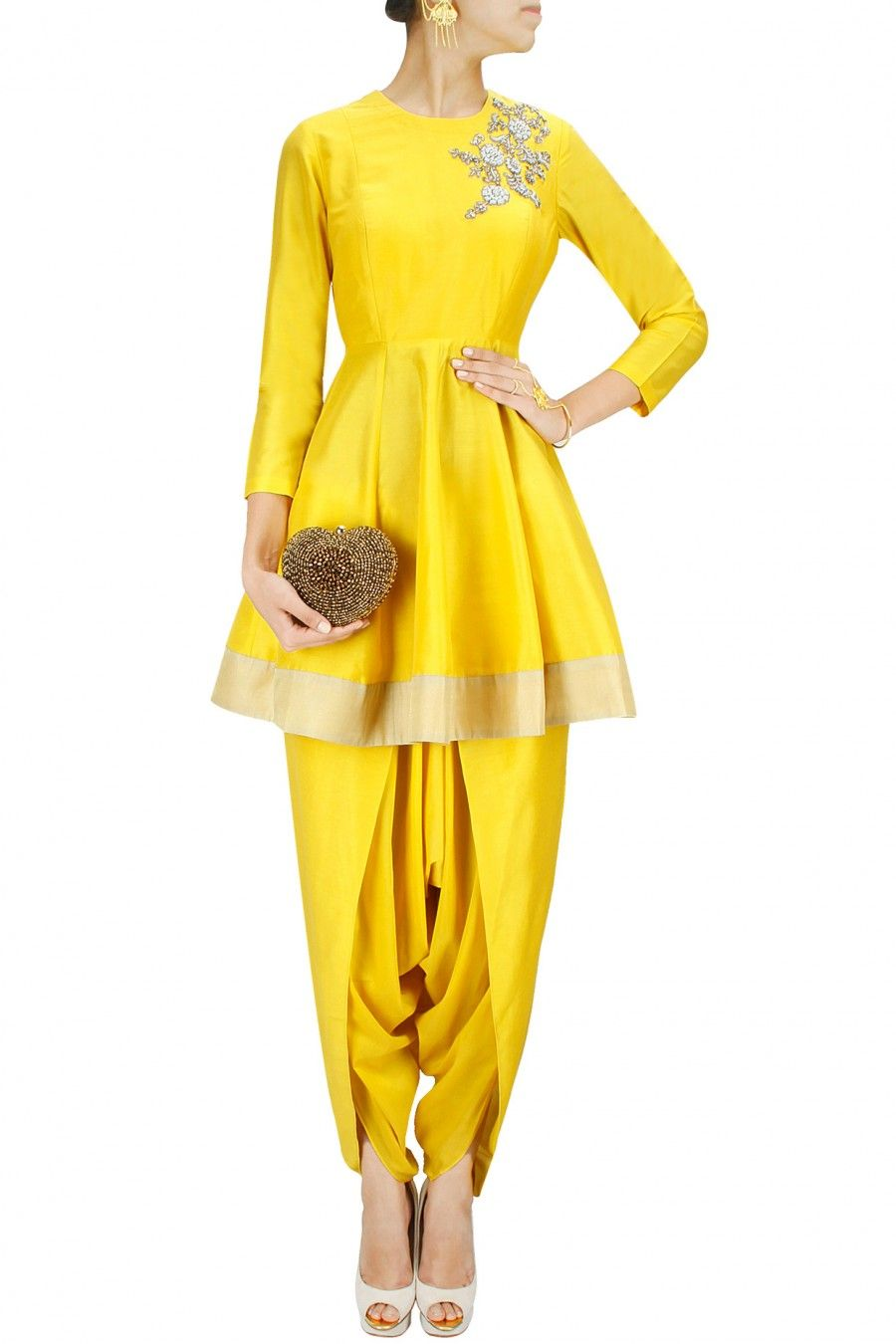 Yellow dabka embroidered flared kurta with dhoti pants by sonali