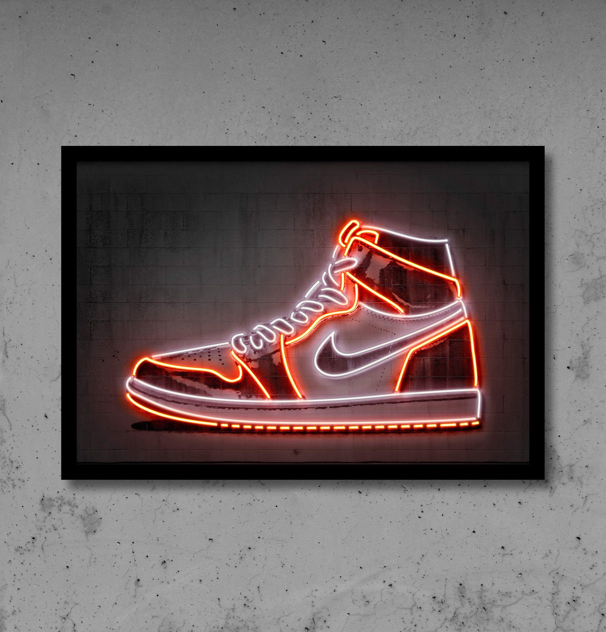 Sneaker posters, Sneaker art, Neon art print