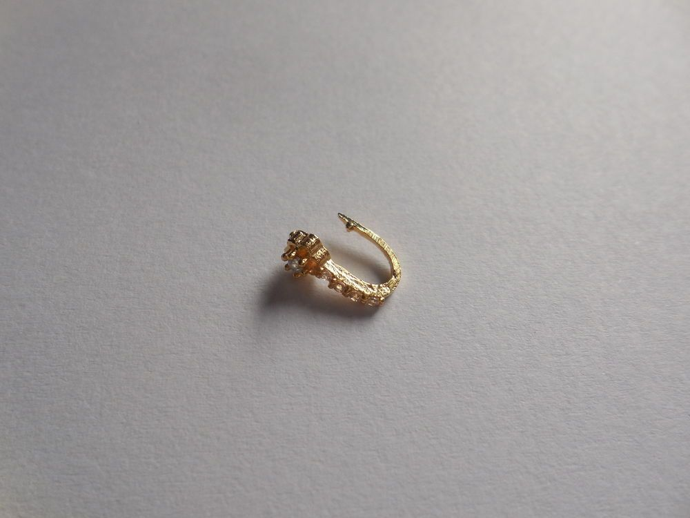 Non Piercing Gold Plated Zircon Nose Clip Cuff Pin Stud Nostril