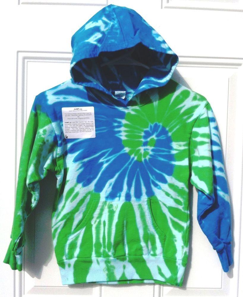 Childrens fleece dharma tie dye hoodie blue green