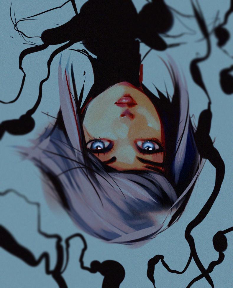 Upside Down Art Anime Drawings Painting Of Girl