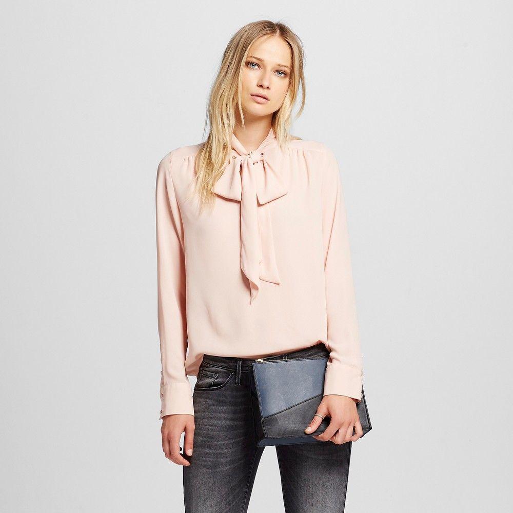 Women's Tie Blouse Pink L - Who What Wear