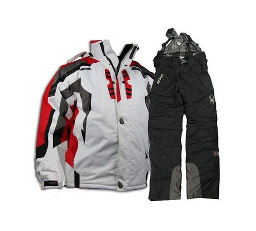 04587a1589 Spyder Men Ski Suit New White Black Snowboard Suit