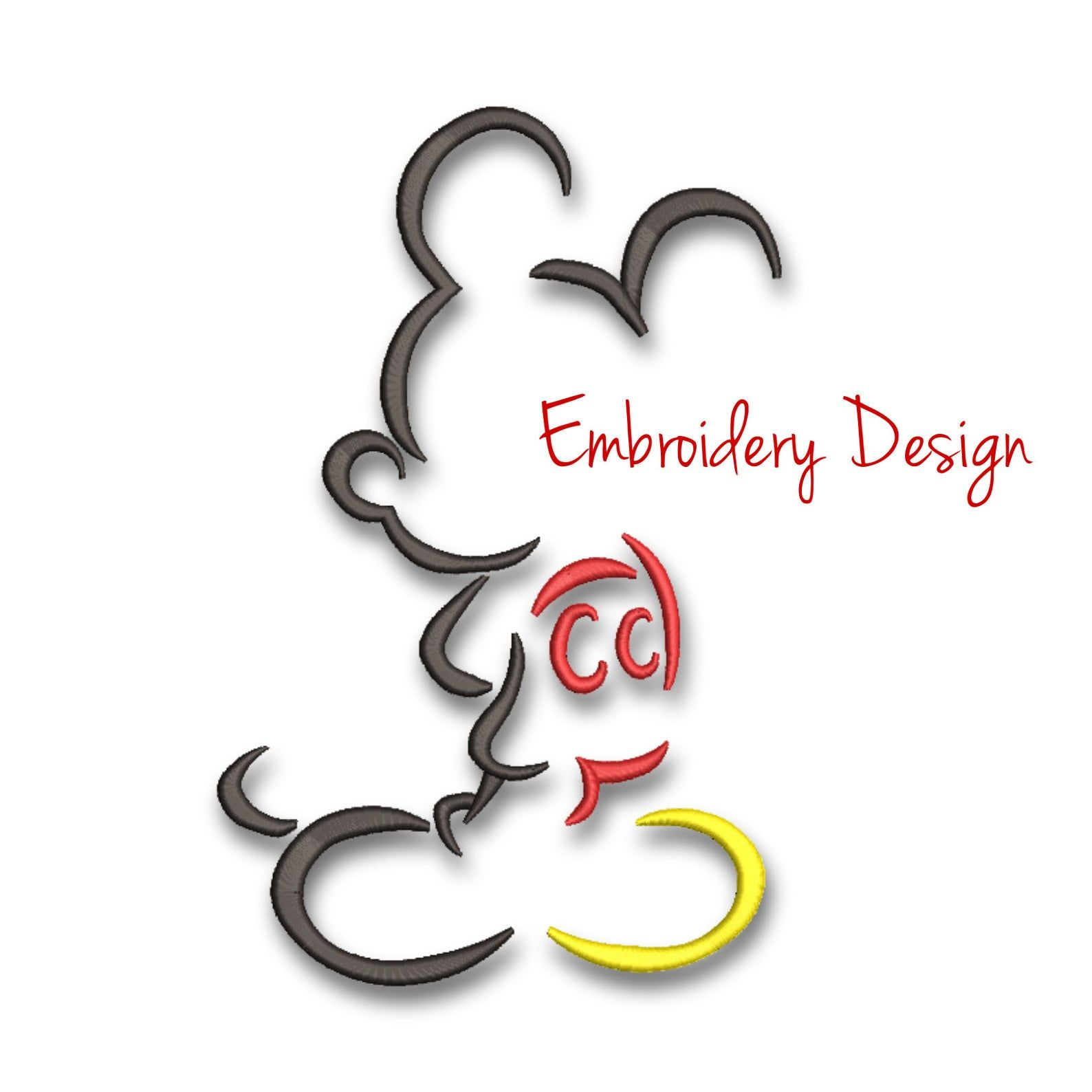 Mickey Mouse Embroidery Machine Designs Outline Pes