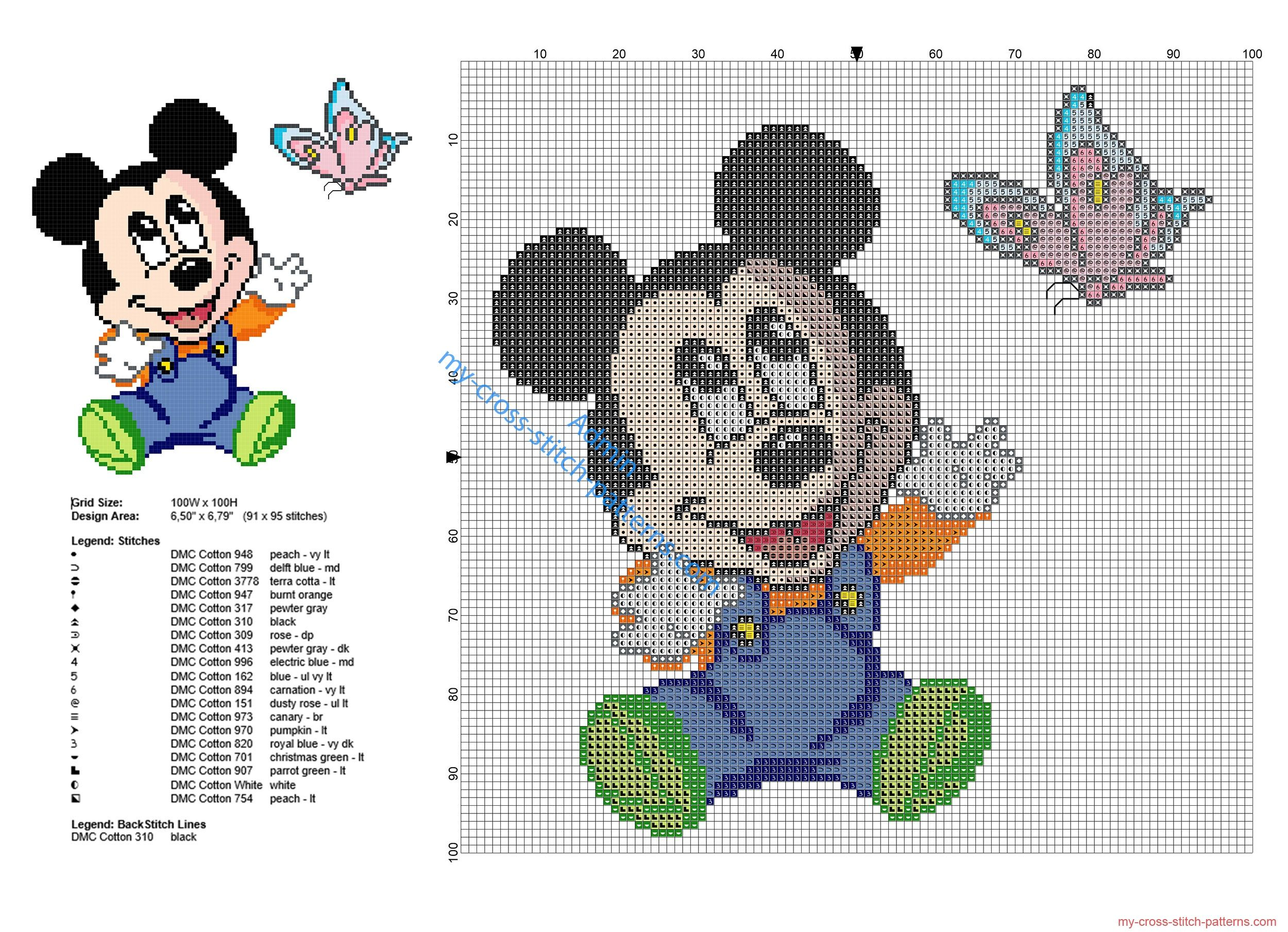 Baby Disney Mickey Mouse with butterfly cross stitch pattern | Cross ...