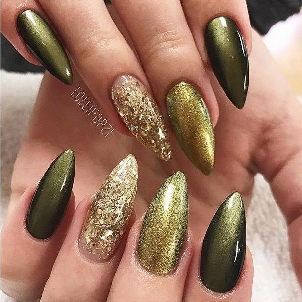 Olive green and gold glitter nails