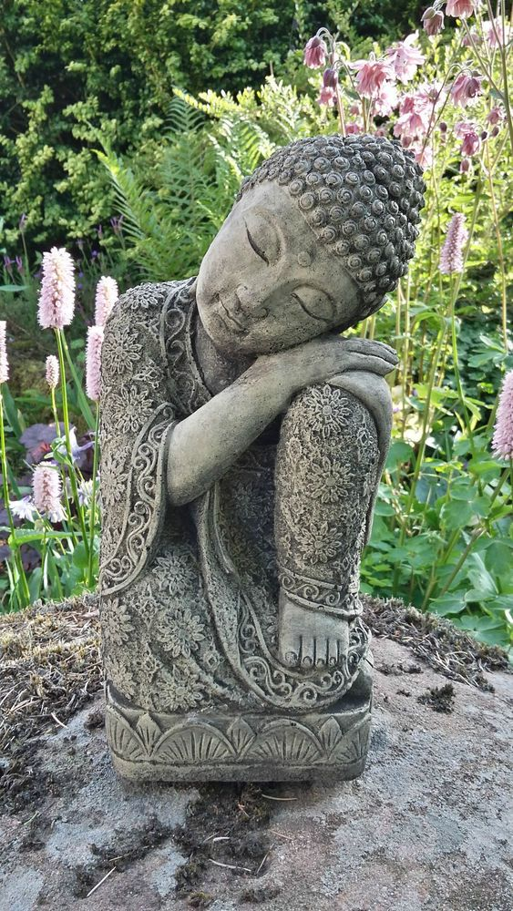 Stone Garden Sleeping Lotus Buddha Buddah Statue Ornament In Patio Ornaments Statues Lawn Ebay