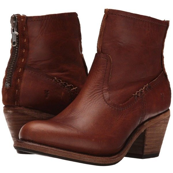 Frye Leslie Artisan Short (Cognac Washed Oiled Vintage) Cowboy Boots ($328) ❤ liked on Polyvore featuring shoes, boots, ankle booties, ankle boots, leather cowboy boots, short boots, short cowgirl boots, cognac booties and short cowboy boots