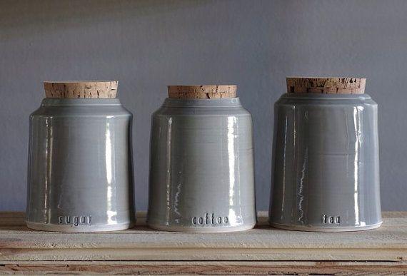 Custom Canister Corked Jar Handmade Modern Name Impressed Coffee Sugar