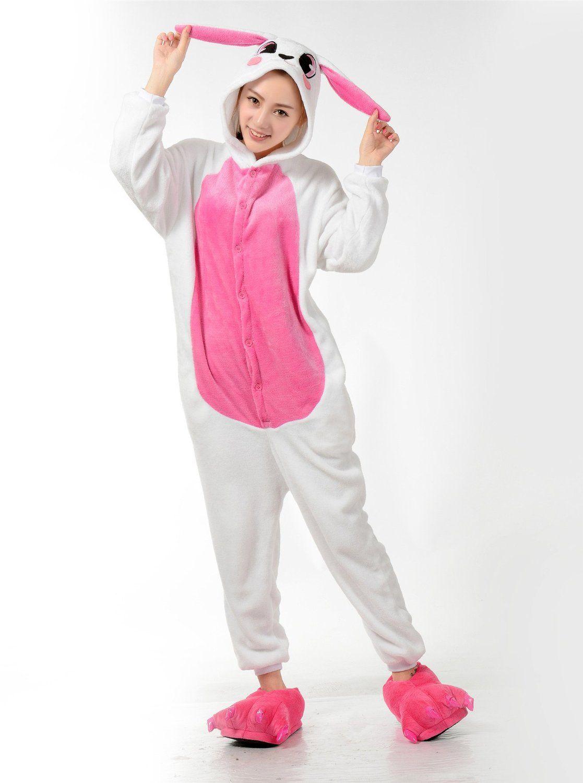 LIHAO Rosa Hase Onesie Pyjamas Schlafanzug unisex Erwachsene ...