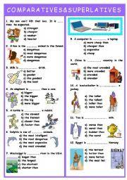 English worksheet: COMPARATIVES AND SUPERLATIVES TEST | Prova 4º BI ...