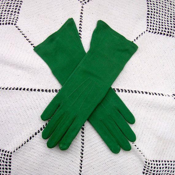 Vintage Green Rayon Gloves size 6-1/2 by RareRagsandTreasures